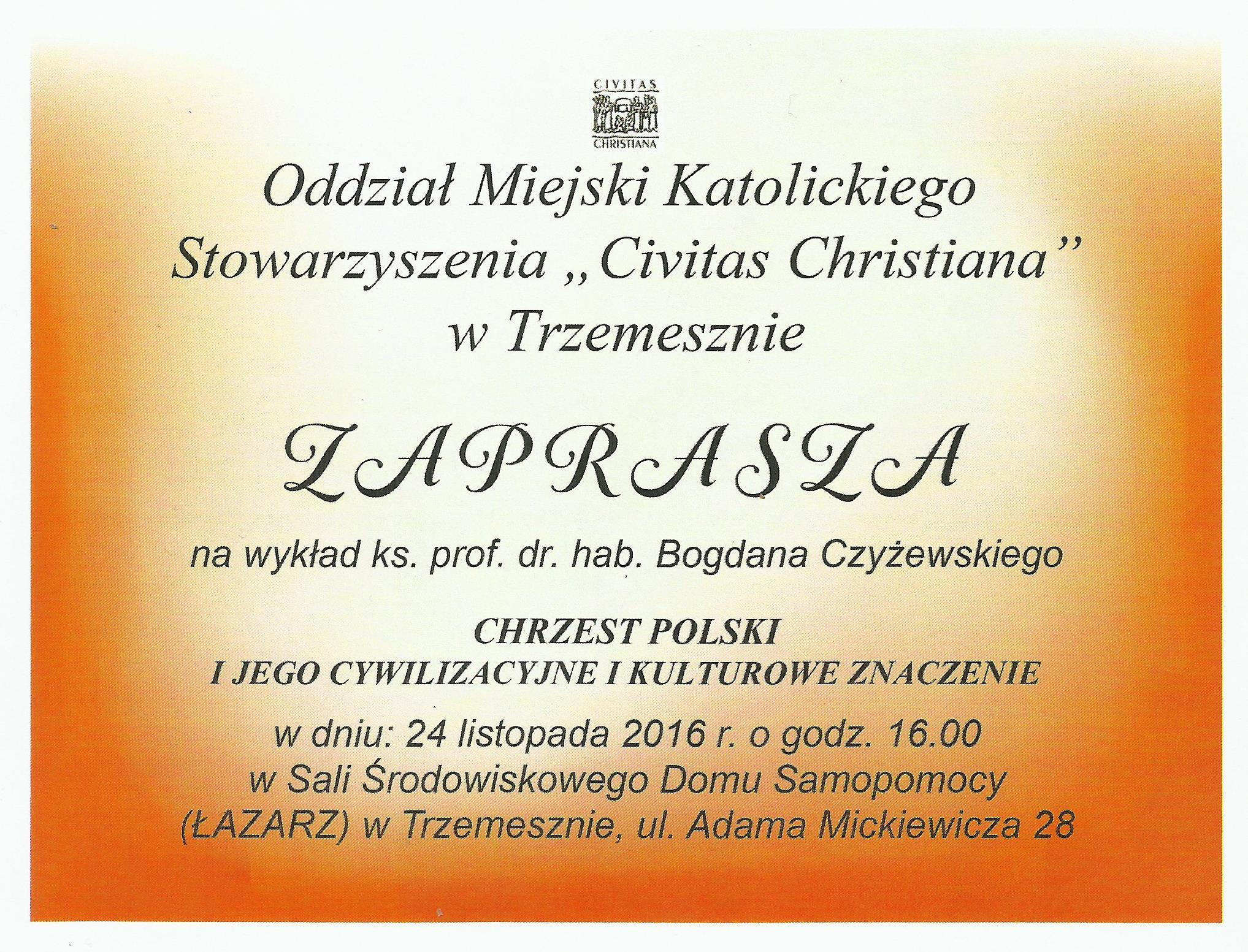 Zaproszenie Chrzest Polski I Jego Cywilizacyjne I Kulturowe